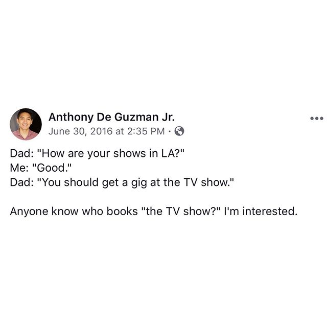 Old post from 3 years ago when I first started doing shows in LA. Also, my name is Anthony. #comedy #tvshow #filipinodad