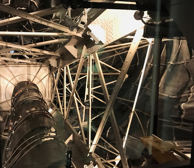 This view shows the interior structure and stairwell up to the crown. Sadly reservations to walk up were sold out but I was able to get this peak into the inside. To the right you can see the interior of the copper with the reinforcement bars that support the form and hold things together.