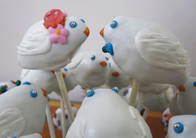 lovebird cake pops I made for friends wedding