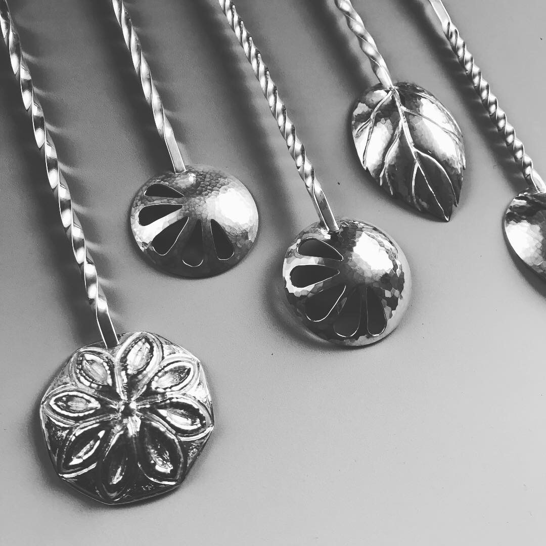 limited edition of sterling silver bartender stir spoons inspired by the ingredients in your favorite cocktail