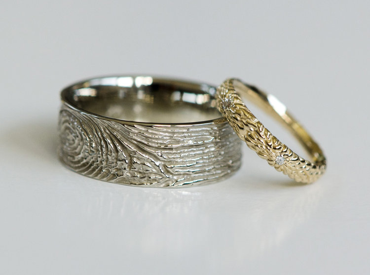 Protea wedding rings