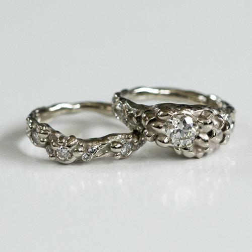 Mushroom engagement and wedding ring set