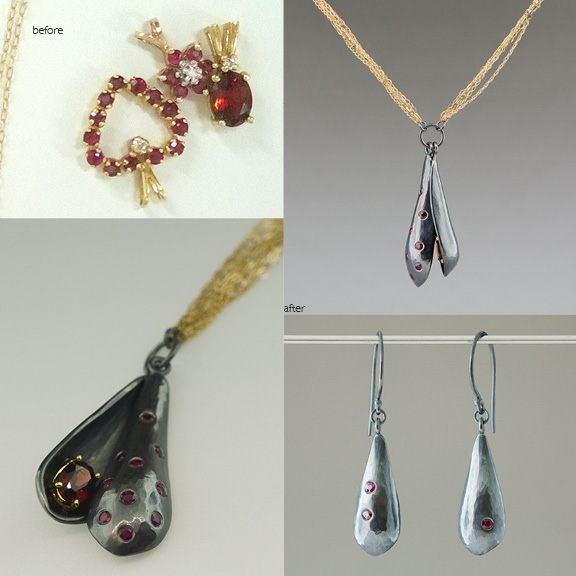 Ruby and garnet necklace and earrings
