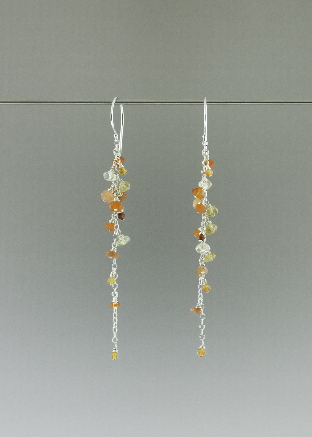 Orange sunset dangle earrings