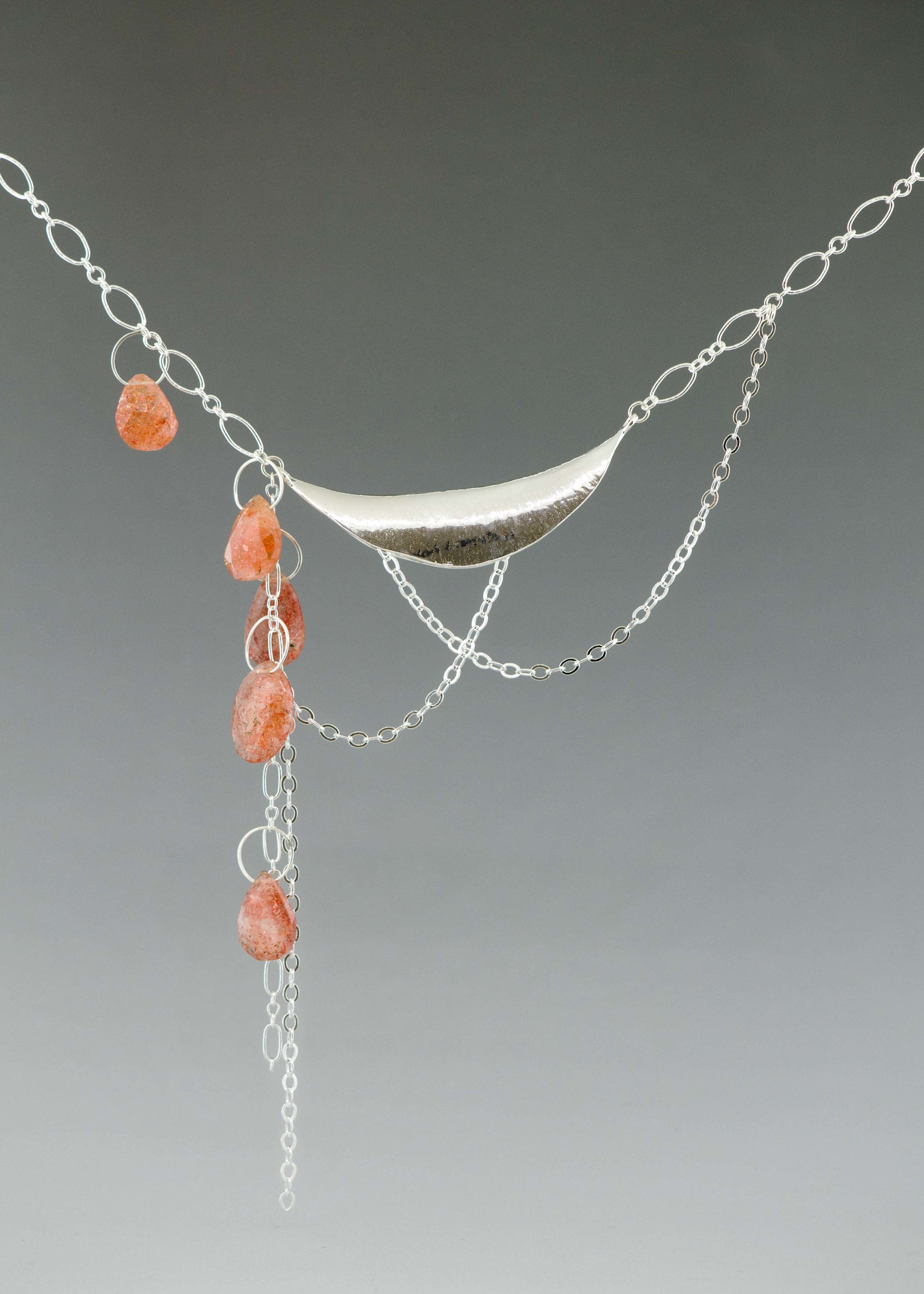 large curve necklace with sunstone
