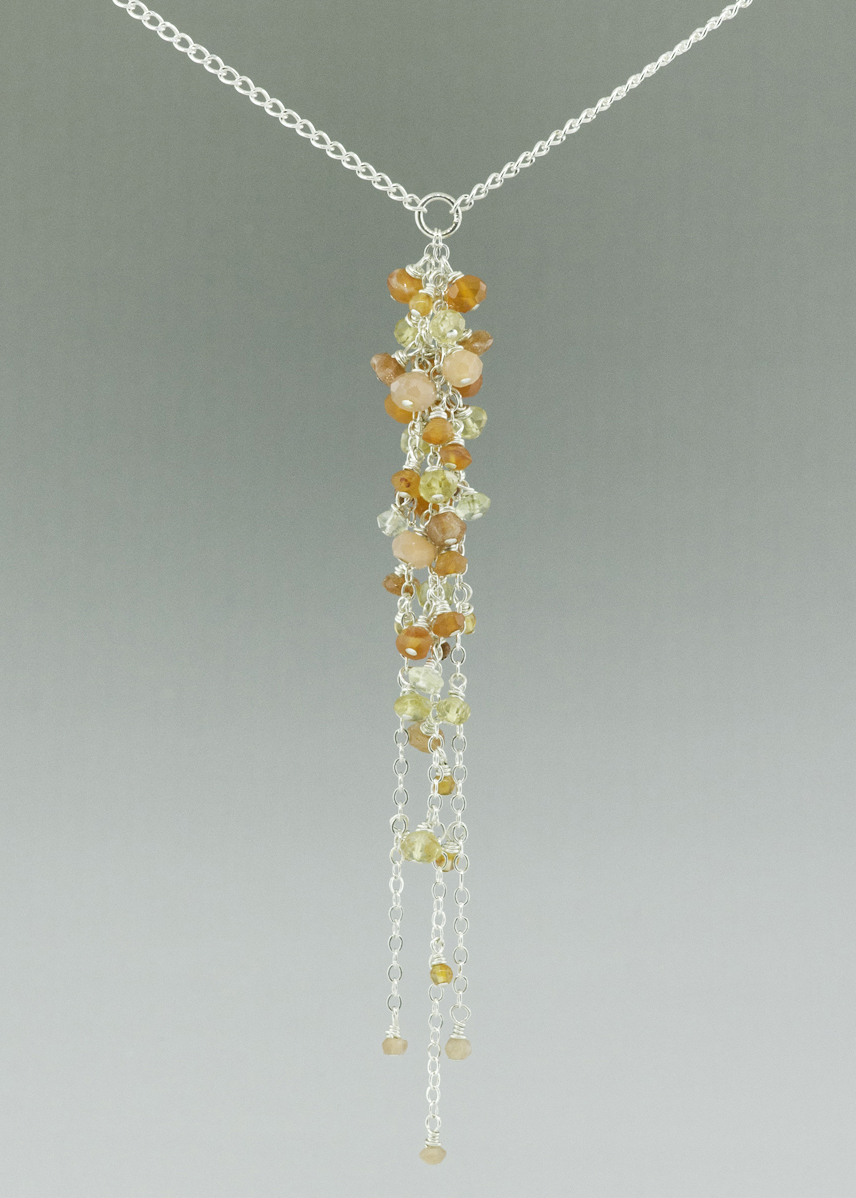 orange sunset dangle neckace