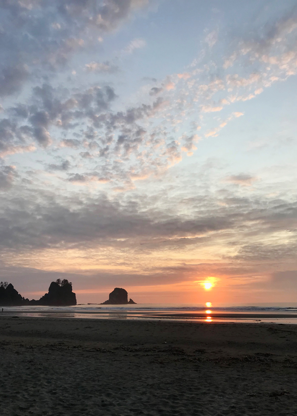 Stunning sunset behind sea stacks on shi shi beach in Washington