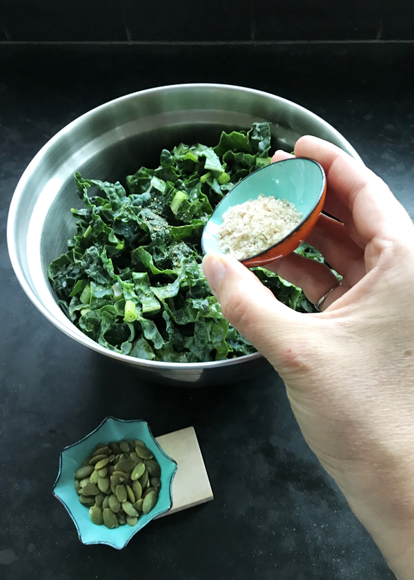 simple kale salad spiced with flake sea salt and pumpkin seeds. Little handmade enamelware bowls perfect for condiments, spices, nuts, seeds, salt, pepper. great gift for foodie