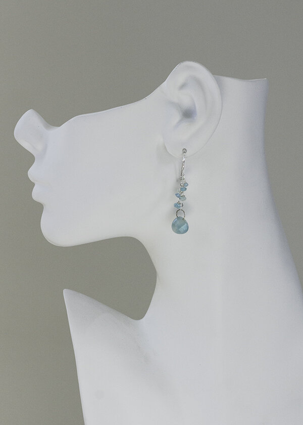 easy to wear blue gemstone earrings great for casual everyday fashion. Dress up a t-shirt or yoga pants with sterling silver, apatite, amazonite dangle earrings with french ear wire.