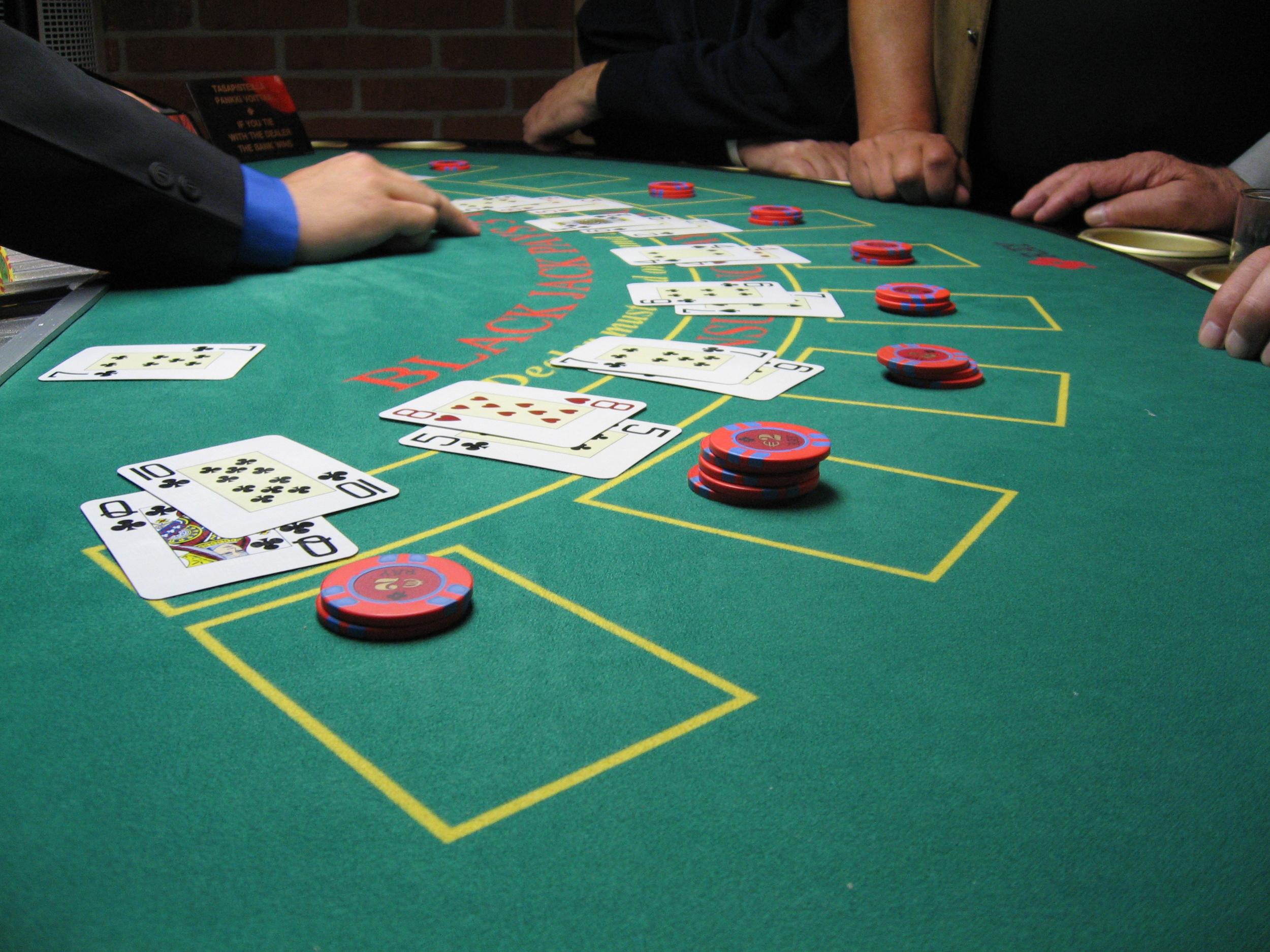 Blackjack Table Labeled for Reuse
