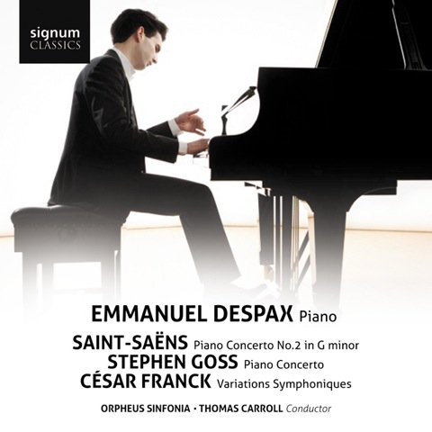 The Debut Concerto Album - Saint-Saëns / Goss / FranckSignum Classics SIGCD349 Orpheus Sinfonia / Thomas CarrollFor his debut concerto album, Emmanuel Despax recorded 3 concertos live in one concert at the Cadogan Hall in London. This concerto disc, with the Orpheus Sinfonia under Thomas Carroll, features two pillars of the romantic piano repertoire, Saint-Saëns' ever-popular Piano Concerto No.2 and Franck's Variations symphoniques. These works are accompanied by the premiere recording of Stephen Goss's Piano Concerto, inspired by the designs of Thomas Heatherwick.