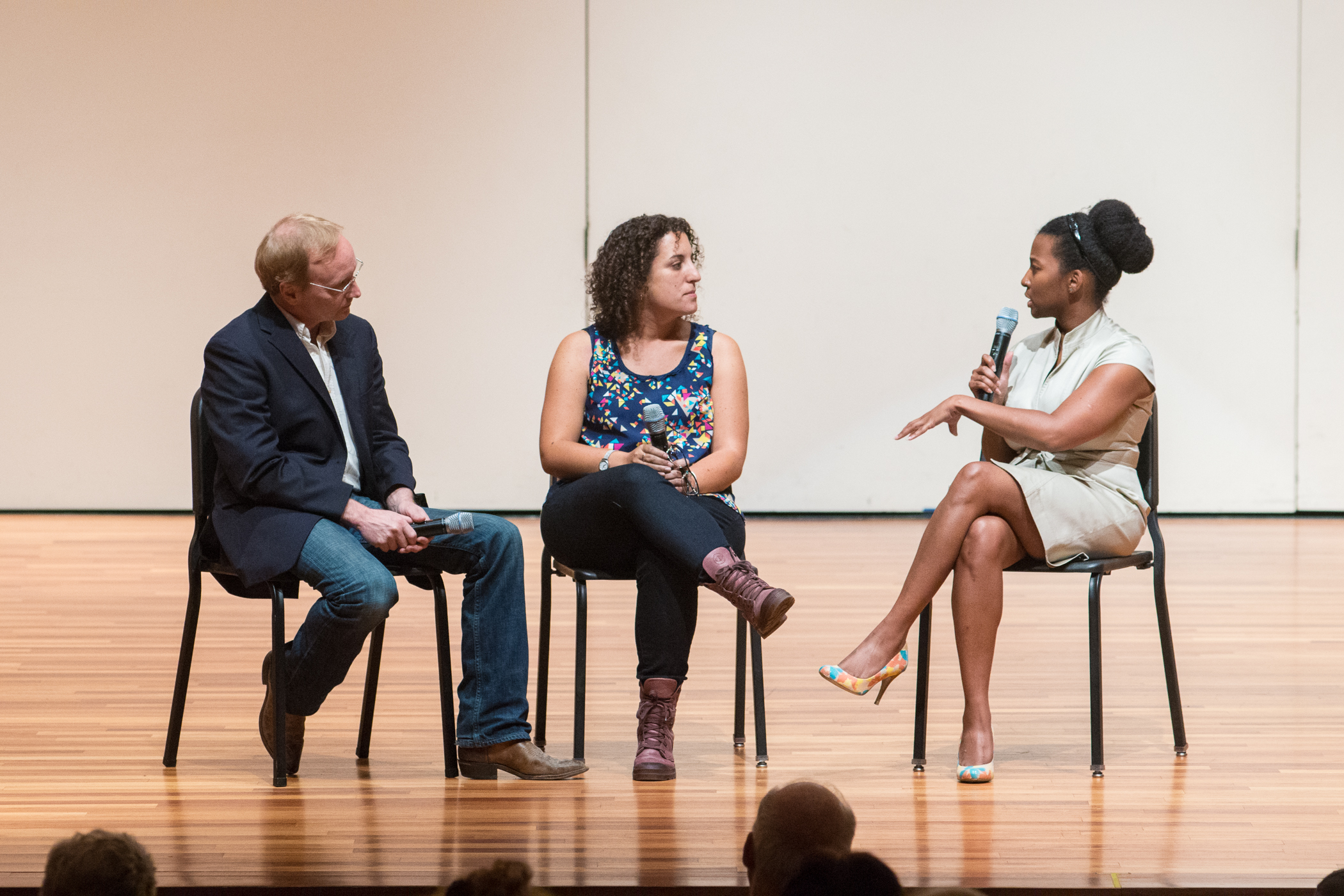 Melanie moderates a discussion on contemporary dance in Israel with Company E founder Paul Gordon Emerson and Israeli choreographer Rachel Erdos. Photo by Jeff Watts
