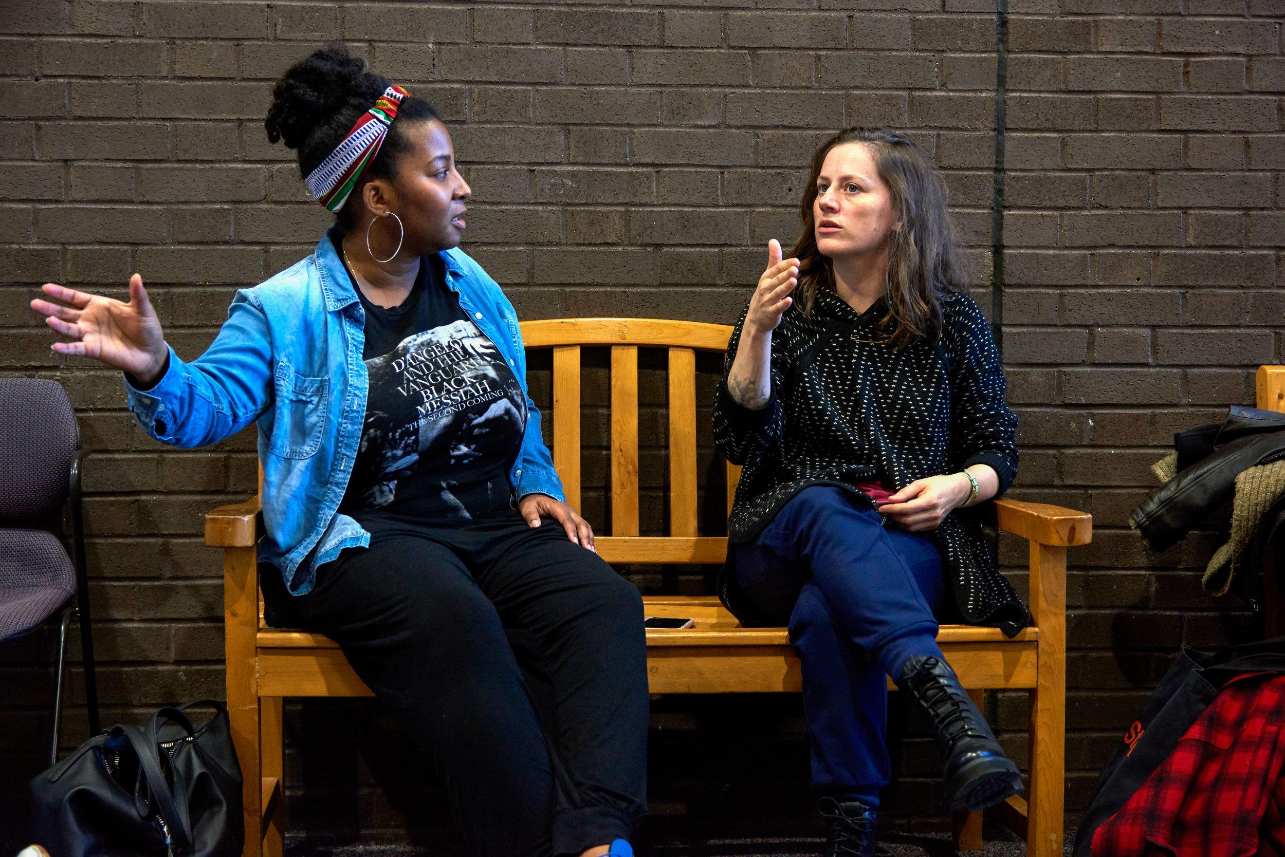 Melanie in rehearsal with Helen Simoneau. Photo by Kate Enman.