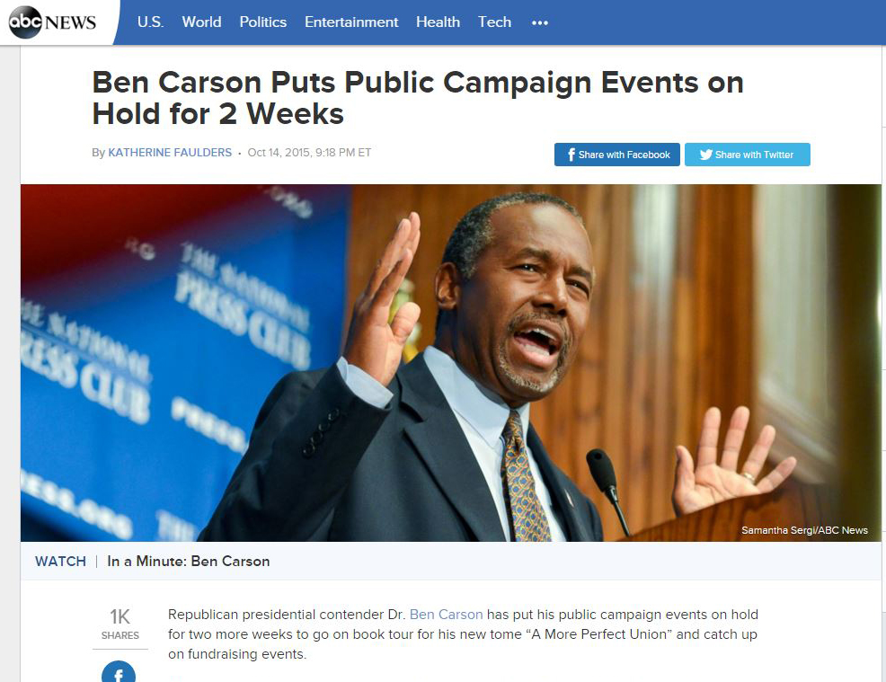 http://abcnews.go.com/Politics/ben-carson-puts-public-campaign-events-hold-weeks/story?id=34481847