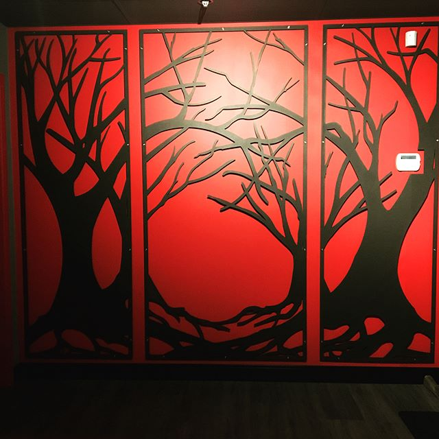 """This wall greets you as you enter our front office - are you nervous, or impressed? Either way, it's 1/8"""" aluminium and there's nothing to fear - except how awesome it looks. #lasercutting #lasercut #wallpanel #decorative #decorativescreens #interiordesign #artsyfartsy #steveston #stevestonbc #sleepyhollow"""