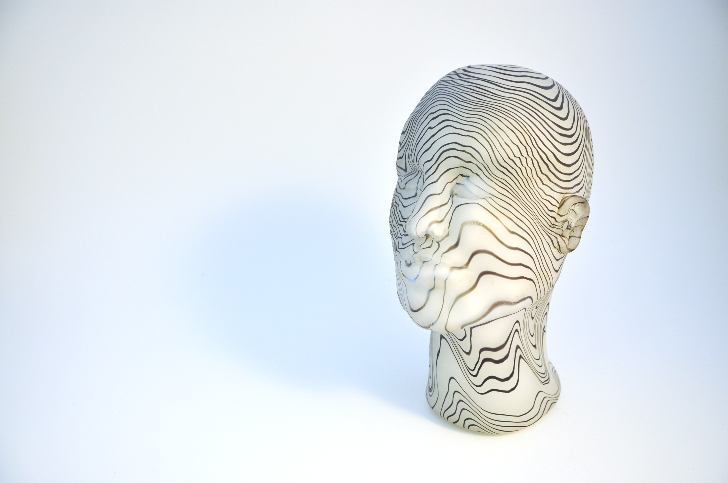 Topographic Head (2), Hot sculpting, blown glass. February 2019.