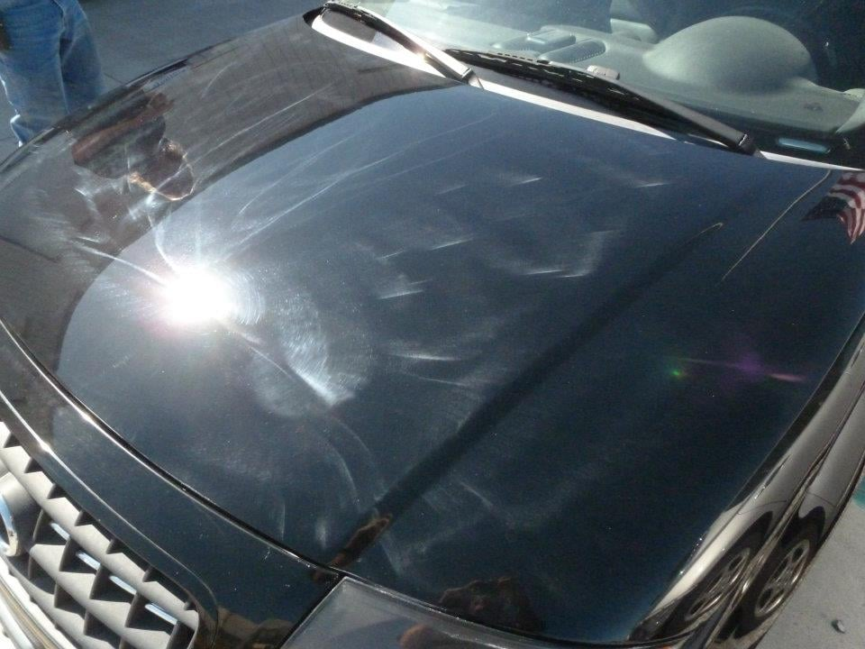 nasty swirl marks put in to the finish by misuse of a buffing machine