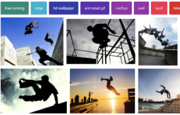 "Google Images search for ""parkour"" shows epic silhouettes of male athletes."
