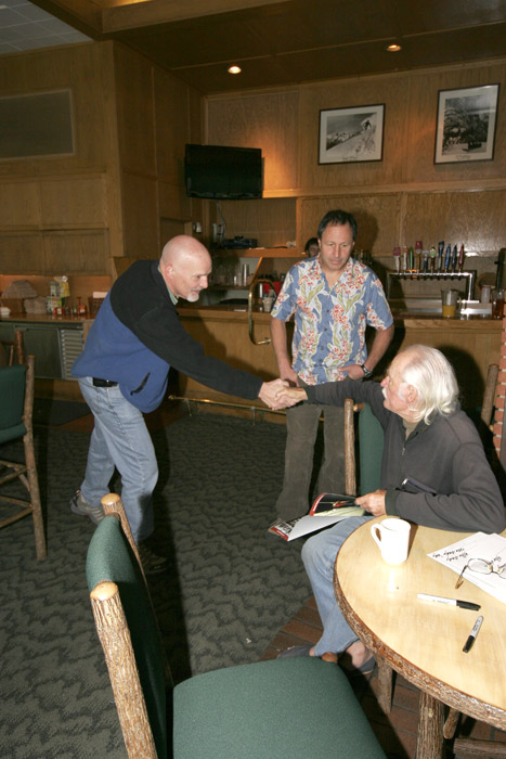 Dan Jensen meeting Allen Steck with Ken Yager looking on during the morning breakfast of the Nose reunion on November 8, 2008.