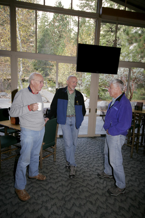 Dick Long, Dan Jensen and Wayne Merry talking Saturday morning after breakfast and before the celebration.