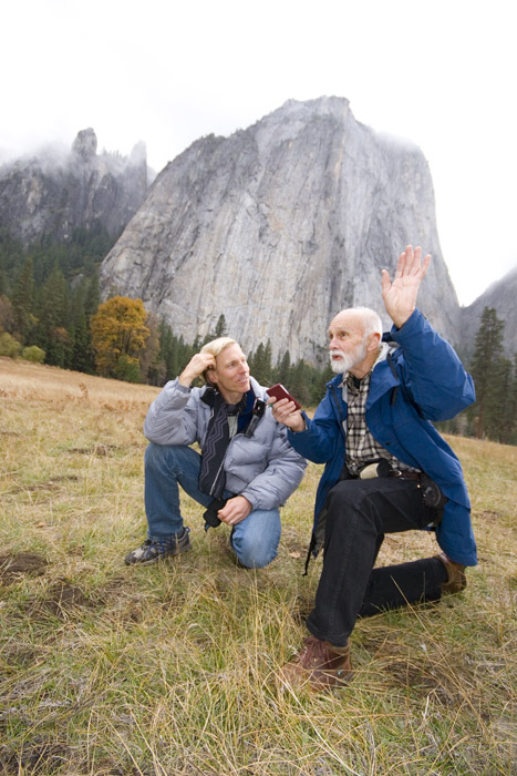 Hans Florine and George Whitmore in El Cap Meadow.