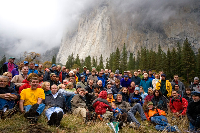 Group photo in front of El Capitan, 50th Anniversary of the First Ascent of The Nose, 11/9/08