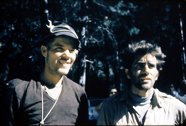 Mark Powell and Warren Harding in Camp 4, 1957. Note the similar hat.