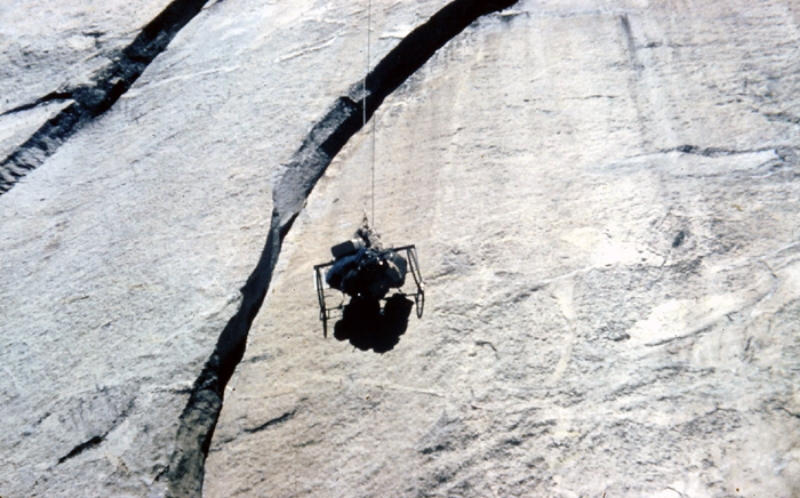 "The creation of Bill ""Dolt"" Feurer. The Doltcart was retired after Dolt Tower during the first ascent of the Nose of El Capitan and was never used again. It was pulled up with the use of a capstan."