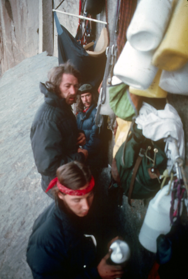 Fred East in back, Jim Bridwell and Jay Fiske on the Continental Shelf. Note the hammock with foam and spreader bar.
