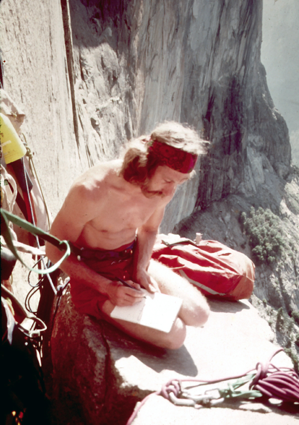 Jim Bridwell working on a topo of the route.