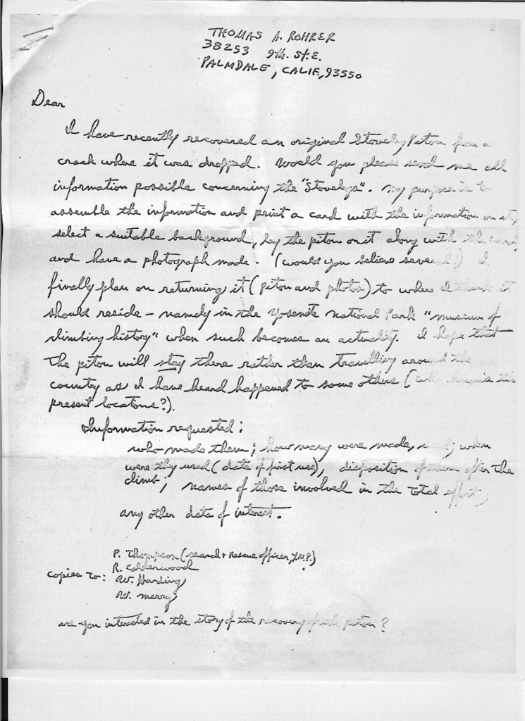A letter written by Tom Rohrer describing his retrieval of a Stoveleg piton that had been dropped in a crack on the Folly.