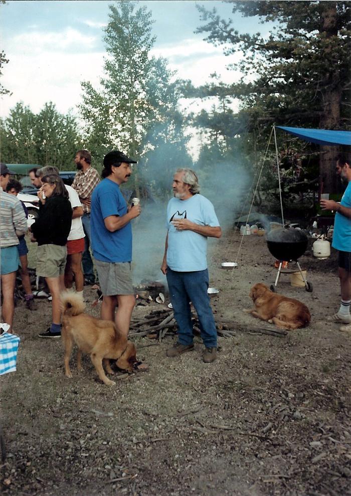 Ken Yager and Warren Harding talking at Warren's birthday party at the Stumps in 1993. Photo by Errett Allen