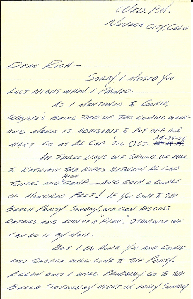 Letter written by Warren Harding to Rich Calderwood with directions to a party.