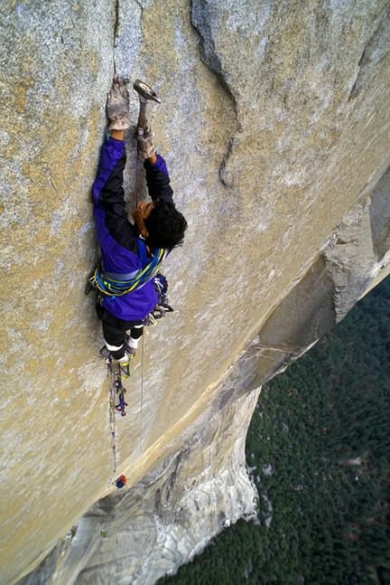 Big Wall Pete Takeda nailing on Sunkist, El Capitan. Greg Epperson photo.