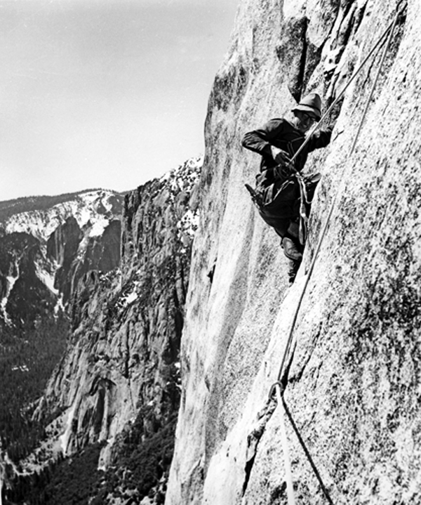 Al Steck on Yosemite Point Buttress during the first ascent in 1952. Bob Swift photo.