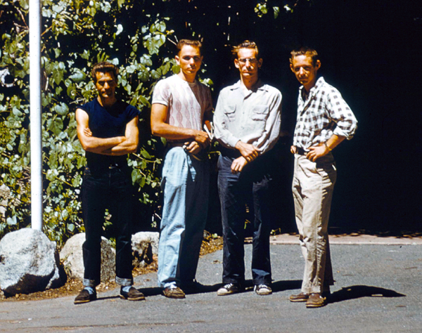 Warren Harding, Jerry Gallwas, Royal Robbins and Don Wilson in 1955 after their attempt on the Northwest Face of Half Dome. Jerry Gallwas collection..jpg