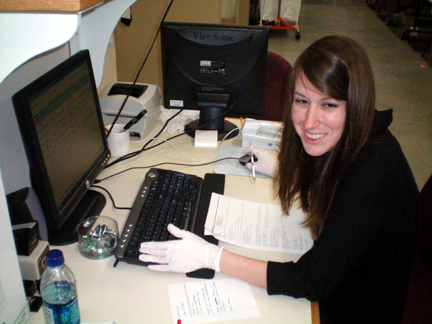 Sarah, collections specialist extraordinaire hard at work.