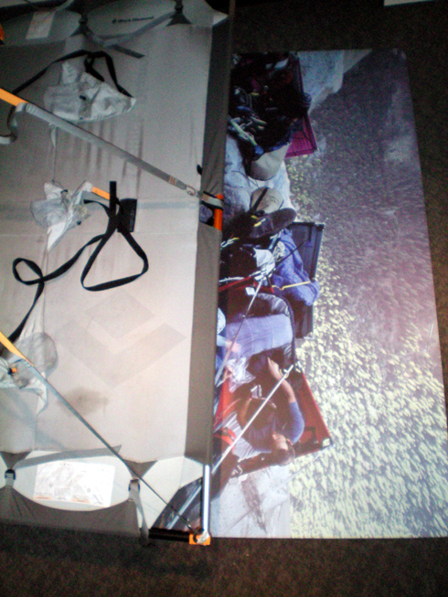 The view looking down from the interactive portaledge