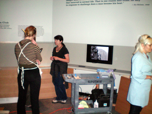 """The other Sara, Andi and Lauren working near one of the satelite tool carts called """"the Sputnik""""."""