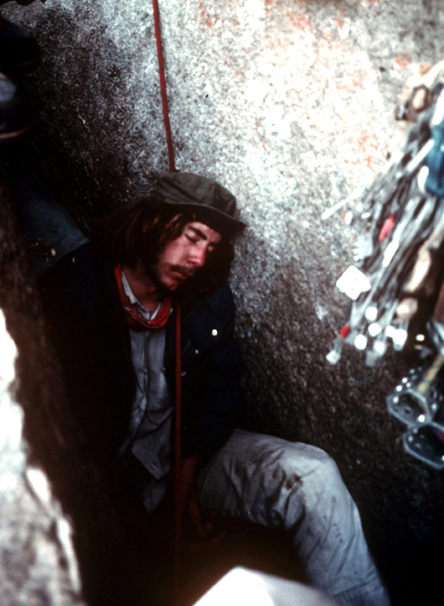 Fred East resting during the first ascent of the Pacific Ocean Wall, 1975.