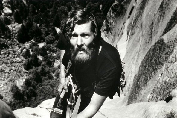 Glen Denny during the first ascent of the Prow on Washington Column. 1969
