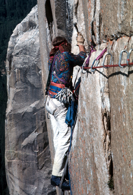 Jim Bridwell in action on the PO Wall of El Capitan in May of 1975.