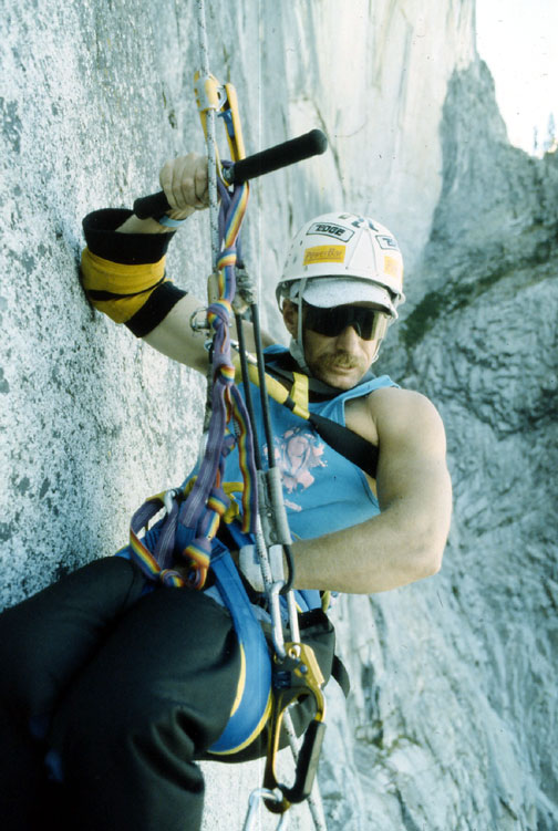 Paraplegic climber Mark Wellman on Tis-a-ack, Half Dome. Mark became the first paraplegic climber to climb El Capitan(1989) and Half Dome(1991). He did both climbs with Mike Corbett. Photo by Ken Yager