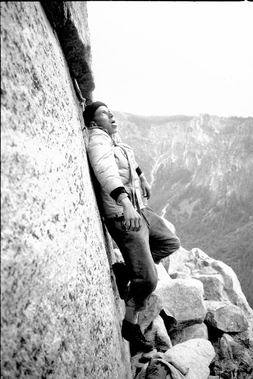 TM Herbert clowning aroundduring a second ascent attempt and first continuous ascent attempt of the Salathe Wall, 1962. The strong party of Royal Robbins, Tom Frost and TM Herbert were overwhelmed by heat and came down. Photo courtesy of Tom Frost.