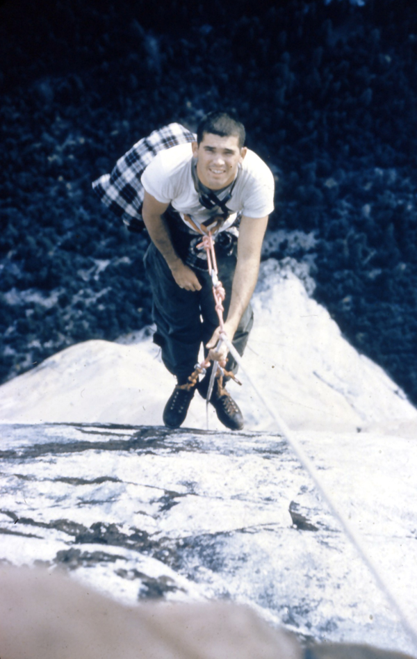Looking down the Nose at Rich Calderwood during the cleanup 2 weeks after the first ascent in 1958.