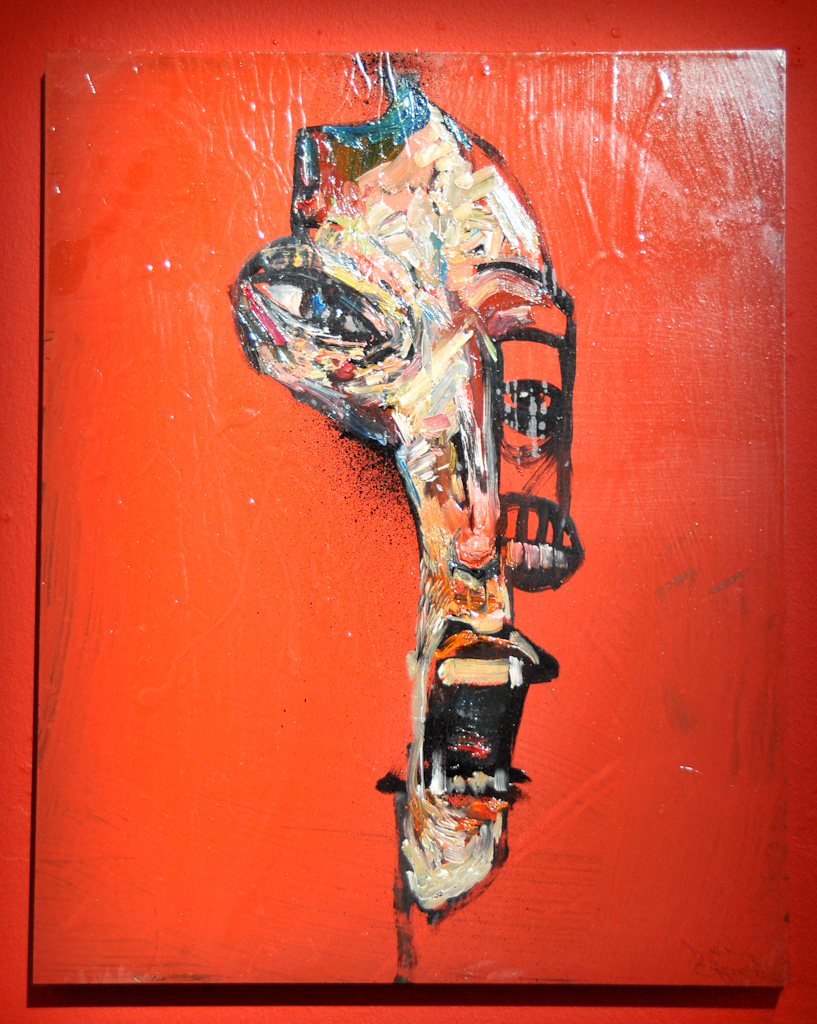 """Pale face"" by David Choe, 2010. Mixed media, acrylic, latex, oil paint , oil stick, spray paint on wood"