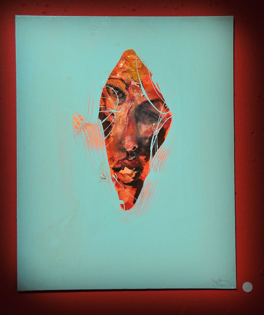 """The Cheater"" by David Choe, 2010. Mixed media, acrylic, latex, oil paint , oil stick, spray paint on wood"
