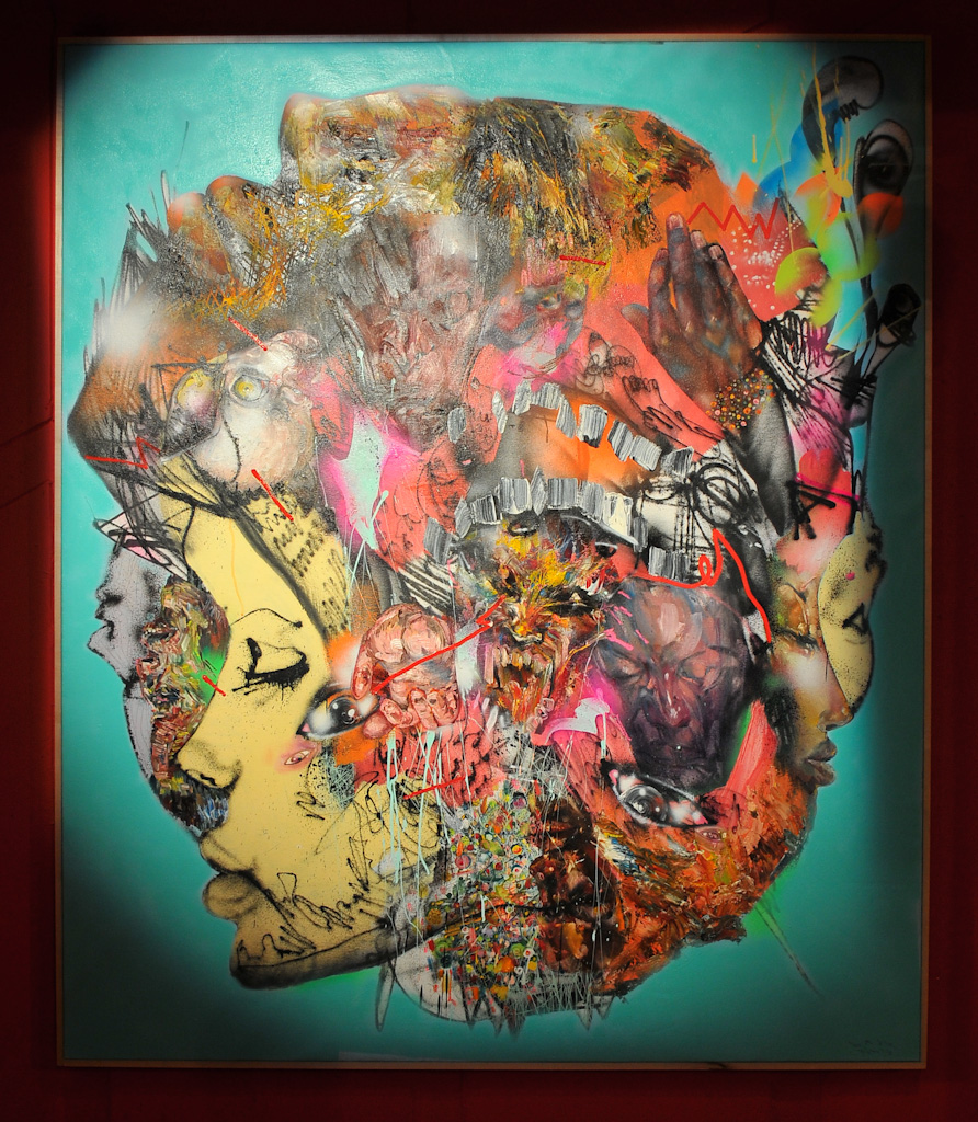 """Pretty Unrealistic"" by David Choe, 2010. Mixed media, acrylic, latex, oil, oil stick, spray paint on canvas"