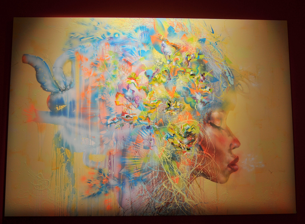 """Nikki: destroy all men"" by David Choe, 2010. Mixed media, acrylic, latex, oil paint, oil stick, spray paint on canvas"