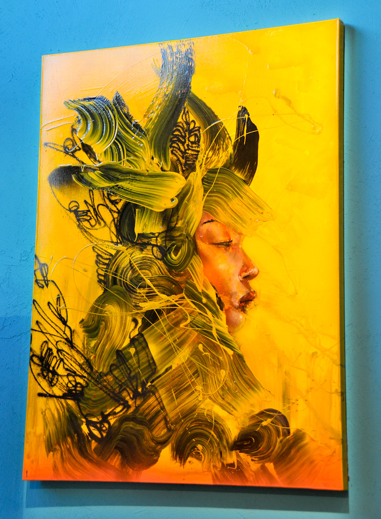 """Yellow Armor"" by David Choe, 2010. Mixed media, acrylic, latex, oil, oil stick, spray paint on canvas"